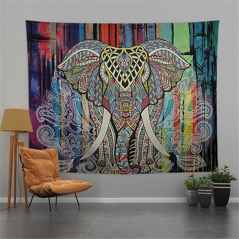 "Ctsyuqoo Bohemian Elephant Tapestry, Hippie Mandala Boho Watercolor Yoga Tapestries Indian Art for Dorm Bedroom Living Room Decor(Multicolor Elephant/78.7""× 59.1"")"