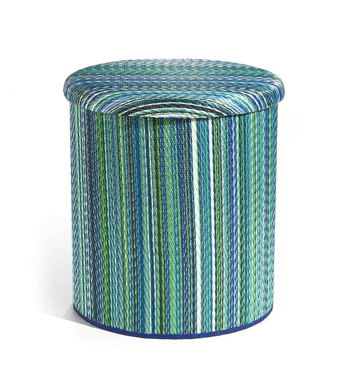Fab Hab - Pouf de Stockage - Plastique Recyclé Pour Intérieur et Extérieur - Cancun Turquoise & vert mousse