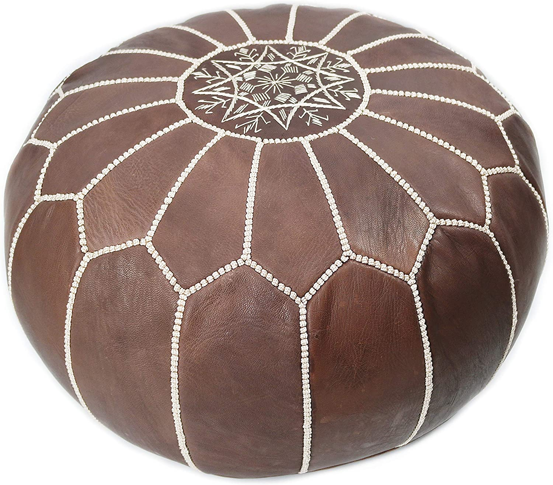 Marrakesh Gallery Brown Moroccan Pouf - Genuine Goatskin Leather - Bohemian Living Room Decor - Hassock & Ottoman Footstool - Round & Large Ottoman Pouf - Unstuffed