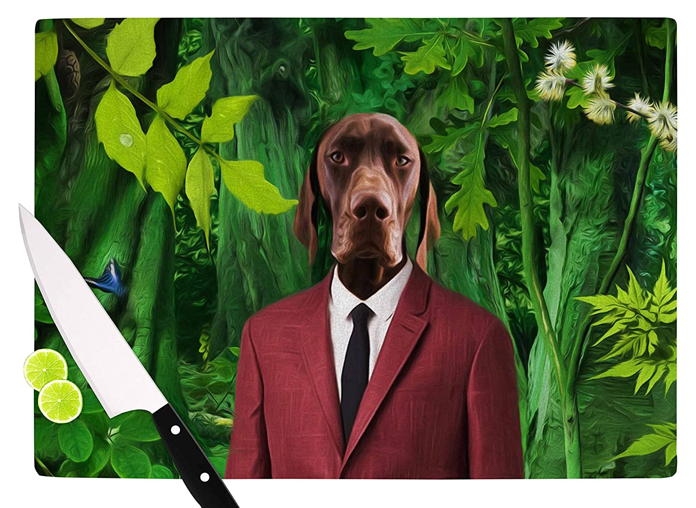 11.5 x 15.75 KESS InHouse NattInto The Leaves N2 Green Dog Cutting Board Multicolor