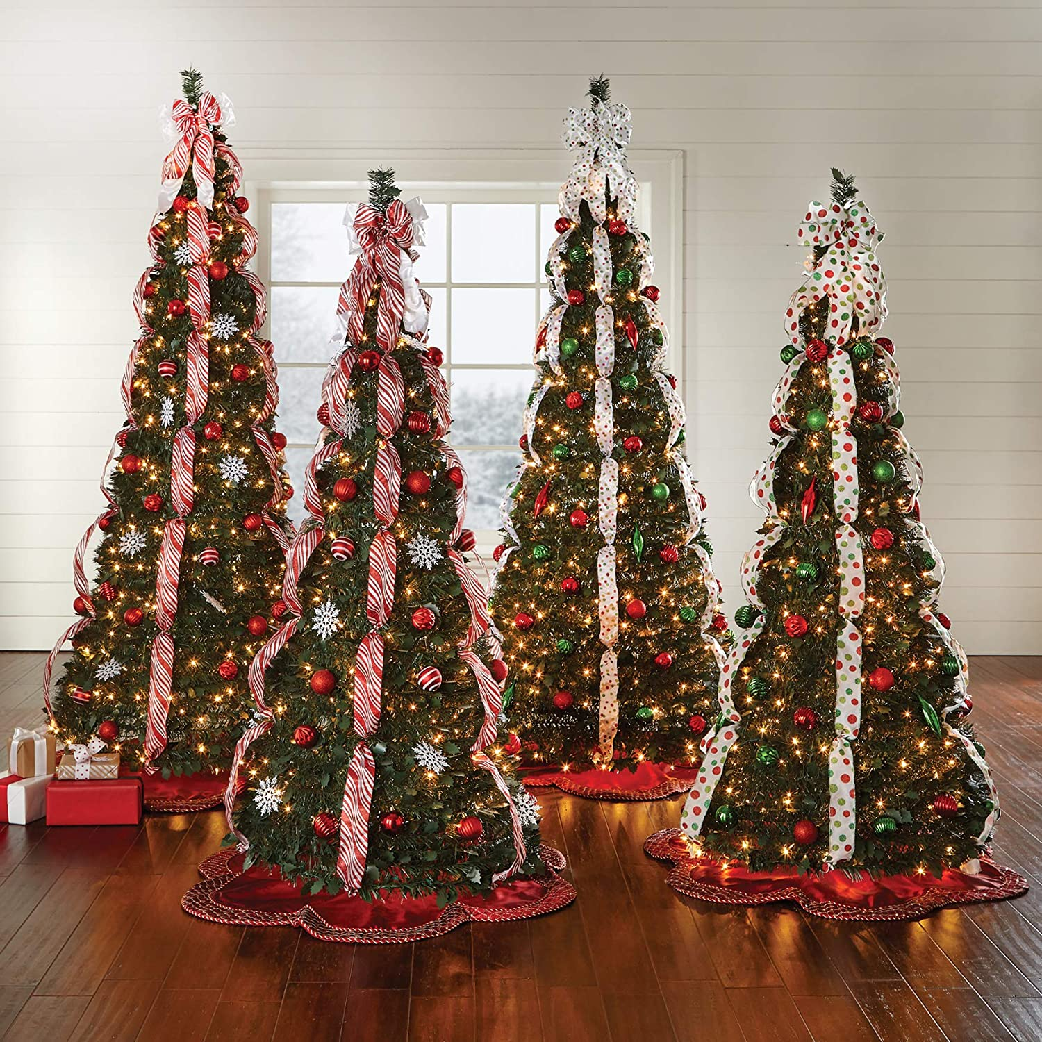 BrylaneHome Christmas Fully Decorated Pre Lit 6 Ft Pop Up Christmas Tree Red White