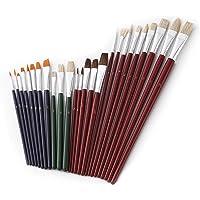 homEdge Juego de cepillos de pintura acrílica de 25 PCS, pincel de pintura de nylon a granel con cabeza redonda y plana para el color del agua, acrílico, lienzo, clavo, apto para artistas, niños, aula