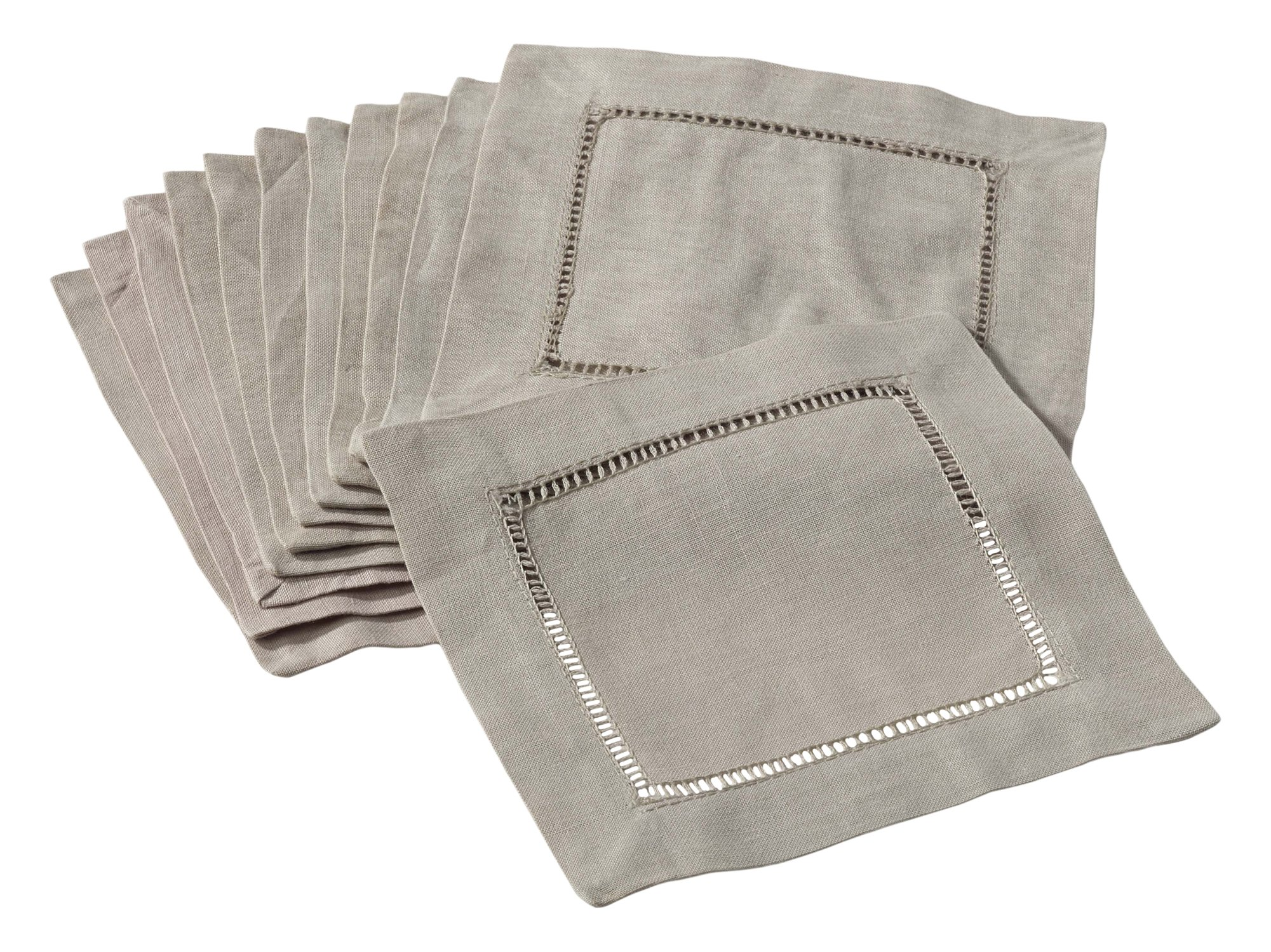 SARO LIFESTYLE 6100C.T6S 24/7 Everyday Collection Hemstitched Cocktail Napkin (Set of 12), 6'' Square, Taupe by SARO LIFESTYLE