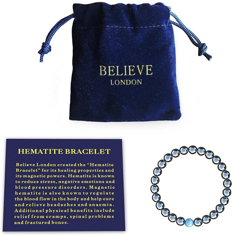 Believe London® Pulsera de terapia magnética con bolsa de joyería y tarjeta de significado | fuerte elástico | piedras naturales preciosas curativas