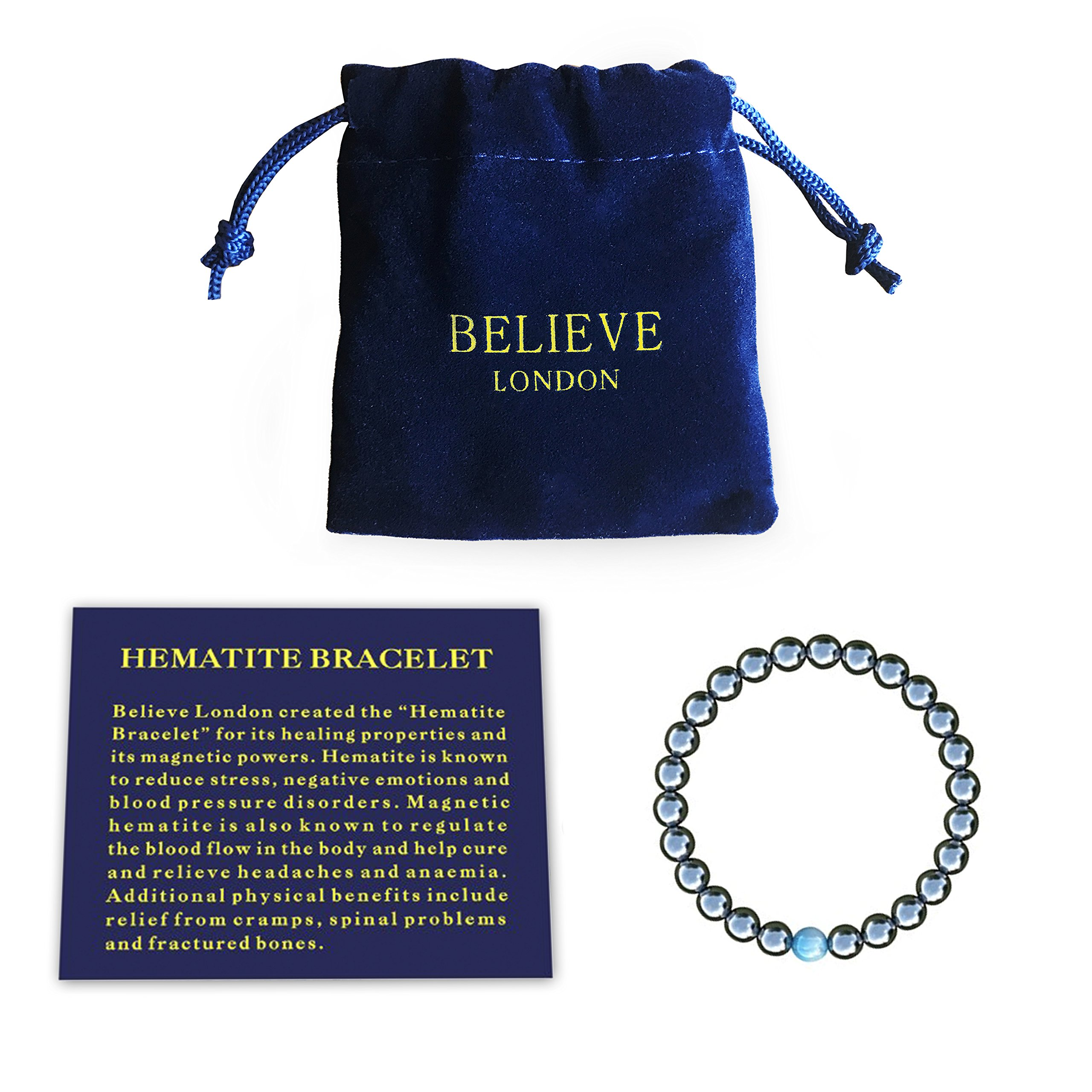Believe London Hematite Magnetic Therapy Bracelet with Jewelry Bag & Meaning Card | Strong Elastic | Precious Natural Stones Healing by Believe London
