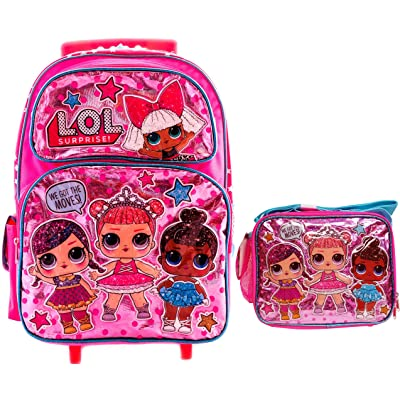 "LOL Backpack with Matching Lunch Box Combo Book Bag, Travel Picnic with 4 Dolls L.O.L Surprise! (16"" Rolling w/Lunch Box)"