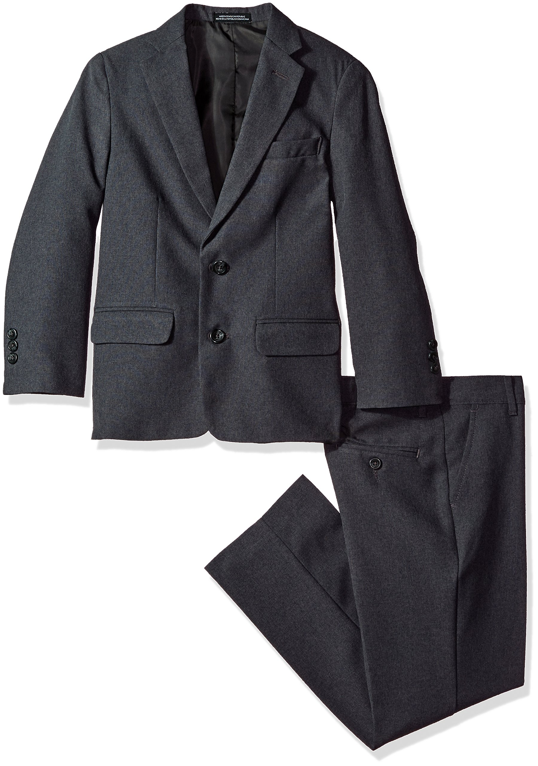 Van Heusen Big Boys' Heather Poplin 2 Pc Suit, Heather Charcoal, 18
