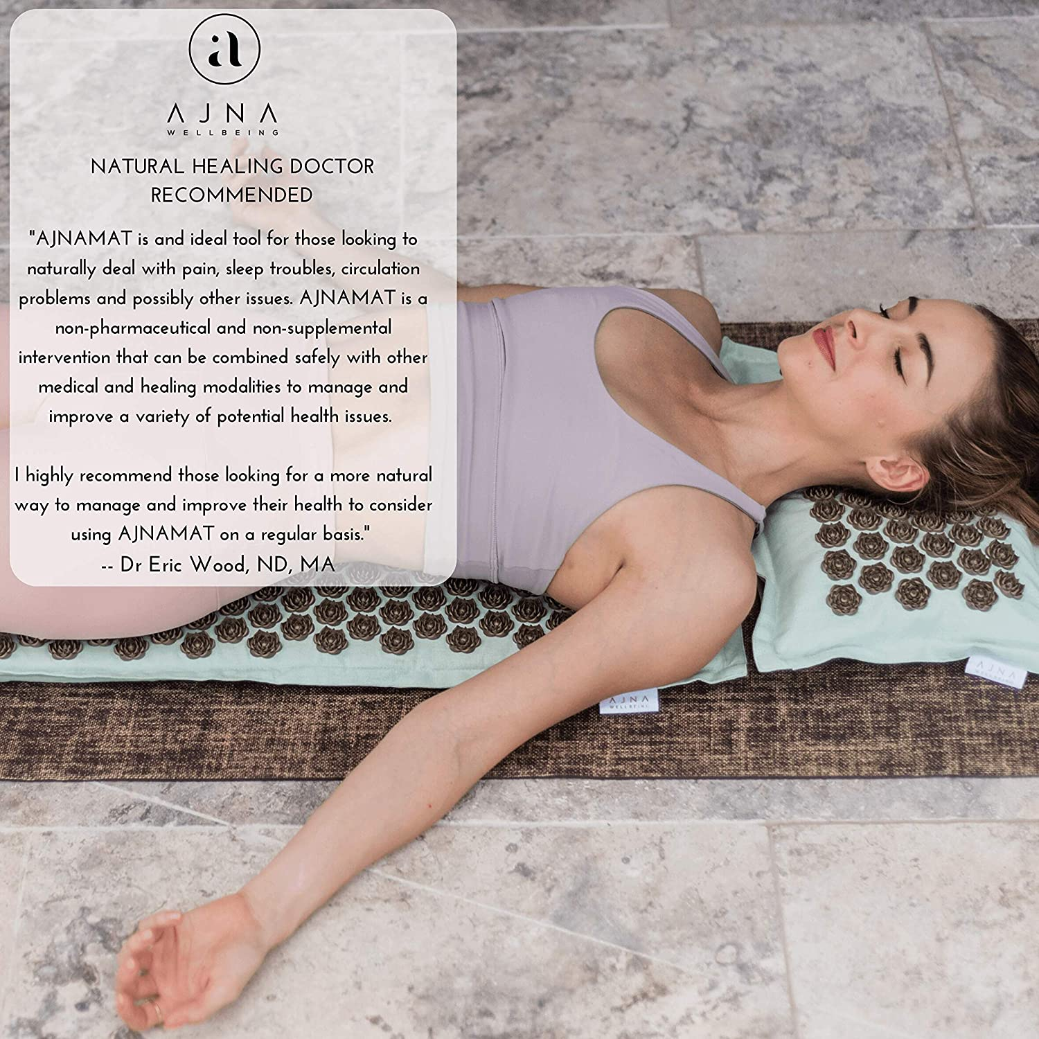 Acupressure Mat & Pillow Set - Natural Organic Linen Cotton Acupuncture Mat & Bag