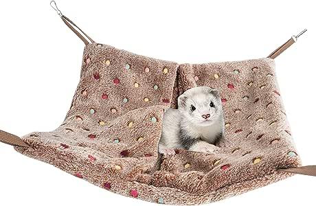 Niteangel Hanging Hammock Nap Sack Swing Bag Pet Sleeper for Ferret Rat Sugar Glider and Other Small Animals (Brown, Polka-dot)