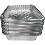 "TYH Supplies Set of 20 Small Disposable 7-1/2-Inch 5-inch BBQ Drip Pan Tray Aluminum Foil Tin Liners Grease Catch Pans Replacement Liner Trays 7.5"" x 5"" Bulk Package"