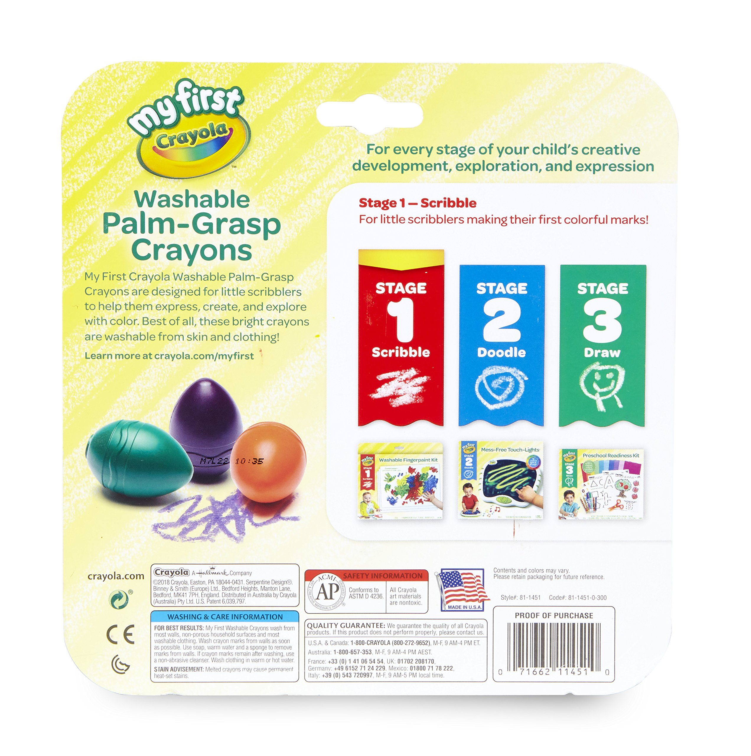 Crayola My First Palm Grip Crayons, Coloring for Toddlers, 6ct by Crayola (Image #3)