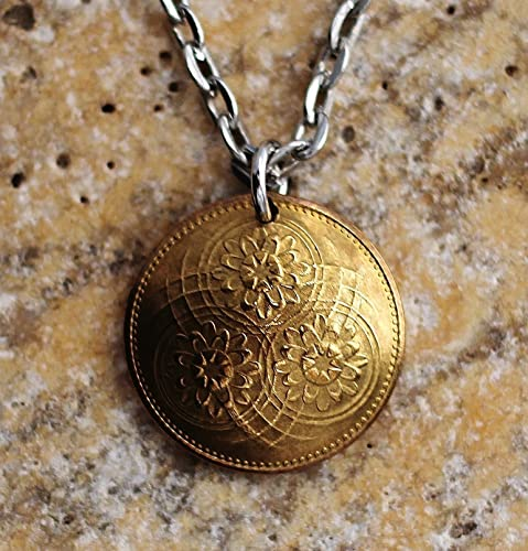 Amazoncom Domed Coin Necklace Guyana Lotus Flower Pendant 1967