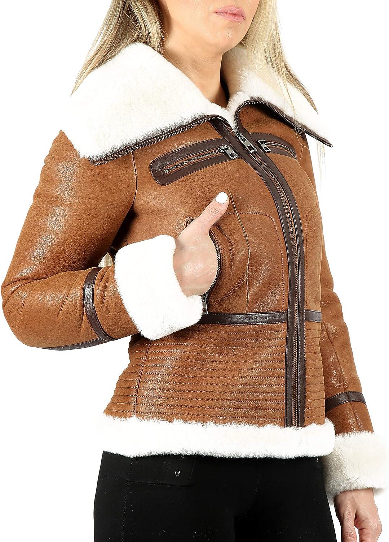 Smart Range Leather Chaqueta de Piel de Oveja para Mujer Chaqueta de Piel de Marfil de Piel de Oveja clásica con Cuello Largo marrón Claro BM-21