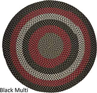 product image for Rhody Rug Mission Hill 4 ft Round Indoor/Outdoor Braided Area Rug - Made in USA Black Multi