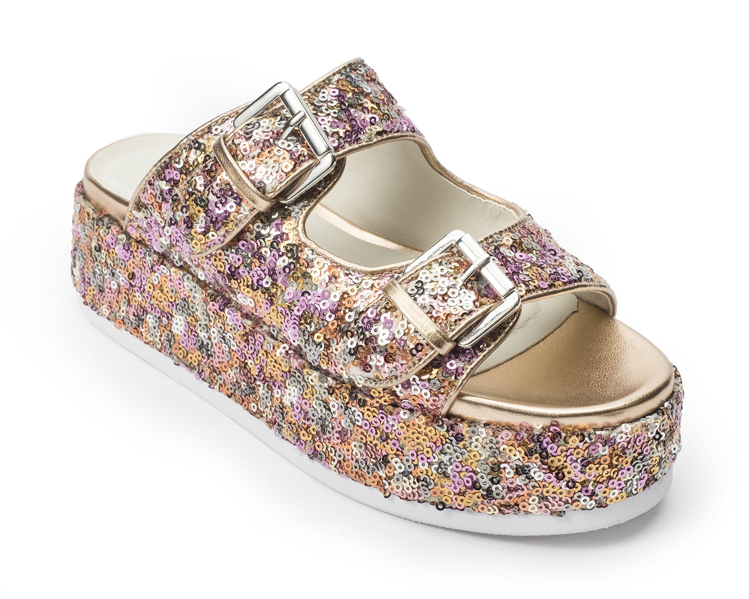 Jane and the Shoe Women's Jordan Rose Gold 2 Buckle Platform Sandal Size 8