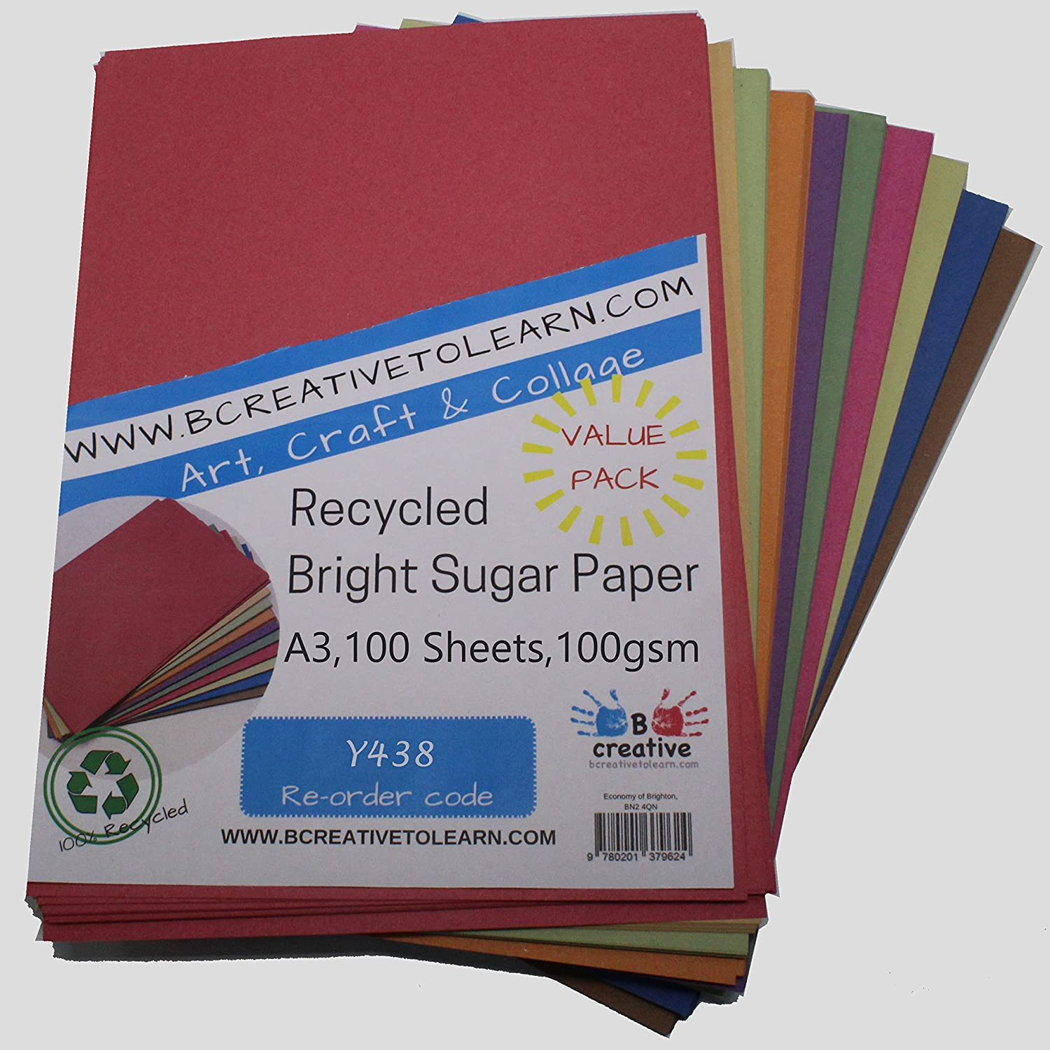 A1 Recycled Ten Pastel Colour Sugar Paper 100gsm 125 sheets by BCreative /®