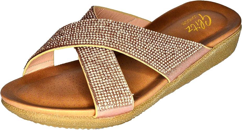 Womens Flat Diamante Slip on Sandals