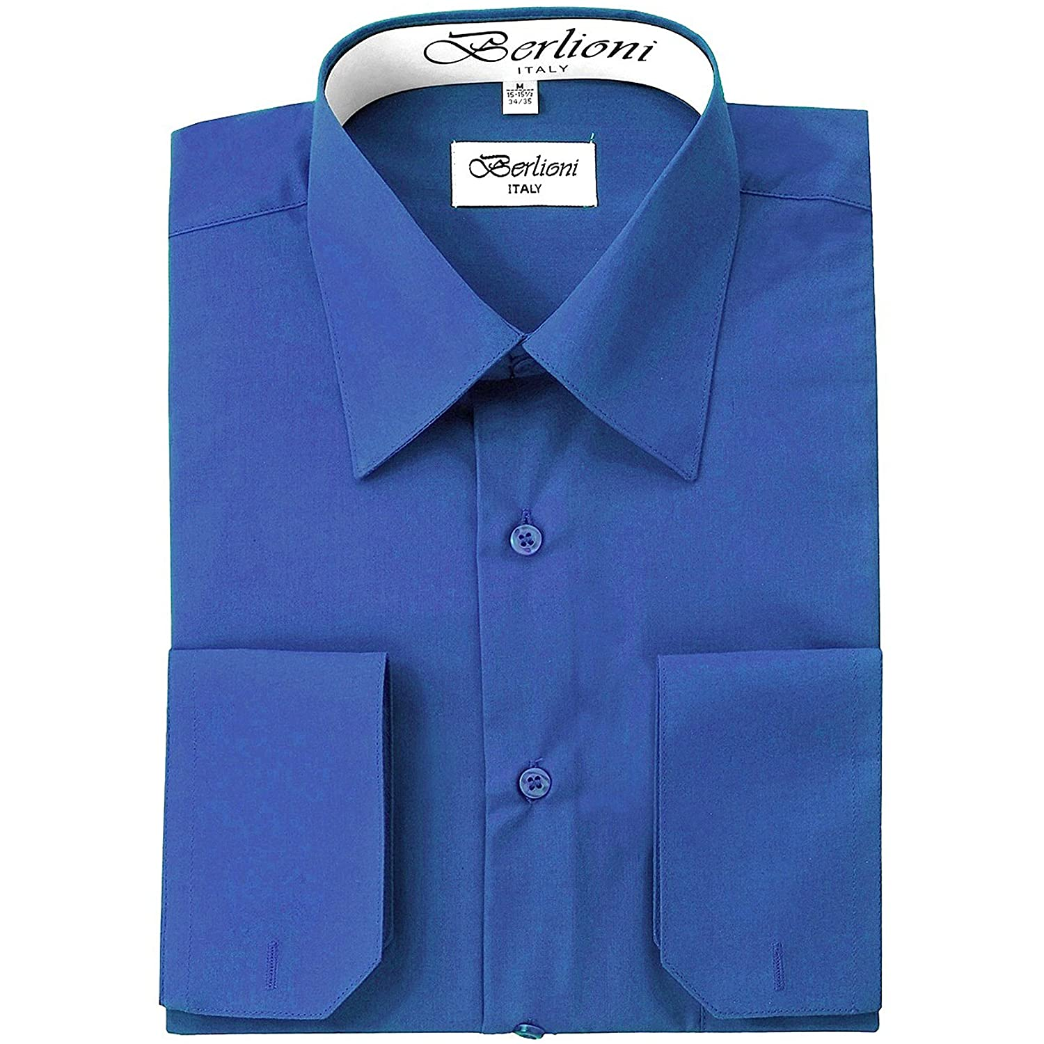 c8ee379d394 Berlioni Men s Dress Shirt - Convertible French Cuffs - Huge Color  Selection at Amazon Men s Clothing store
