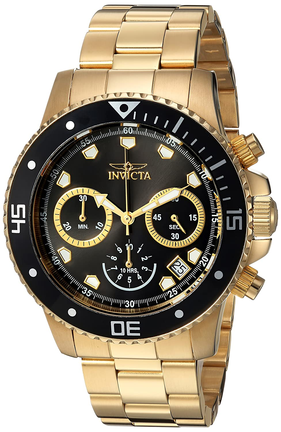 Invicta Men s Pro Diver Analog-Quartz Diving Watch with Stainless-Steel Strap, Gold, 9 Model 21893