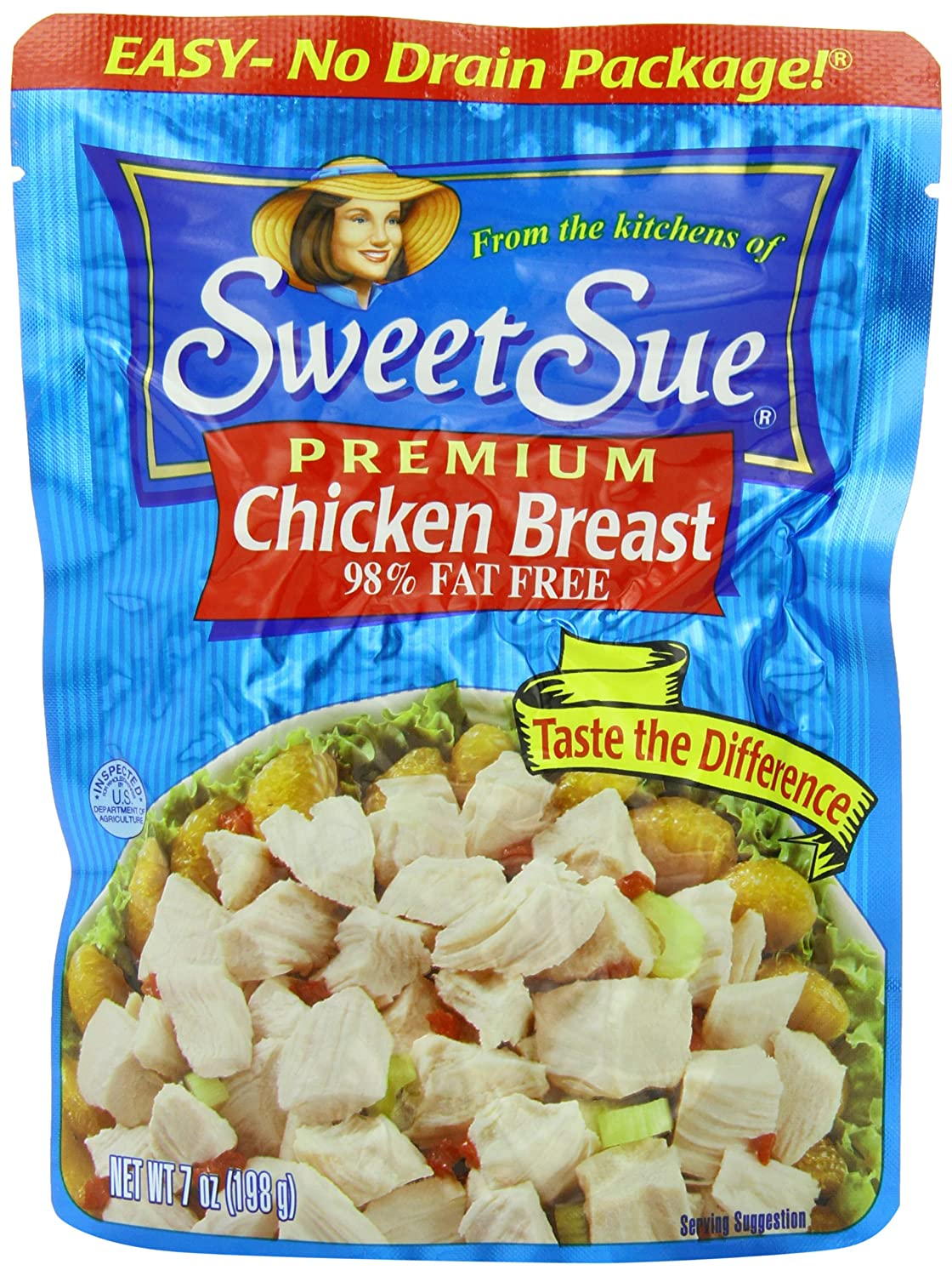 SWEET SUE Chicken Breast, High Protein Food, Keto Food and Snacks, Gluten Free Food, High Protein Snacks, Bulk Canned Food, 7 Ounce Pouches (Pack of 12)