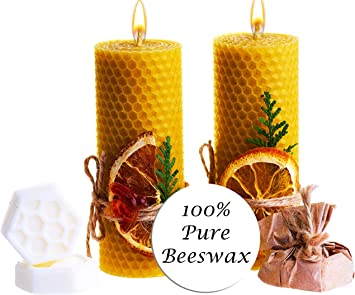 and 2 Shea Butter Soaps Size 5 x 2 in Blue Beeswax Gifts 100/% Beeswax Candles Set of 2 Colored Pillar Candles