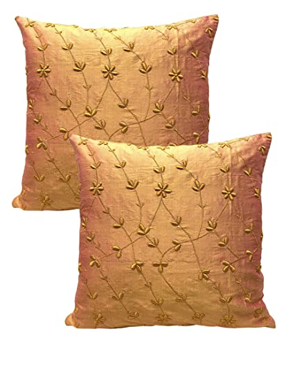 """Buy House Of Silko Dupion Silk Yellow Orange Cushion Cover with Velvet  Floral Embroidery for Interior Decoration (Size- Set of 2 (12""""x18"""" Covers)  Online at Low Prices in India - Amazon.in"""