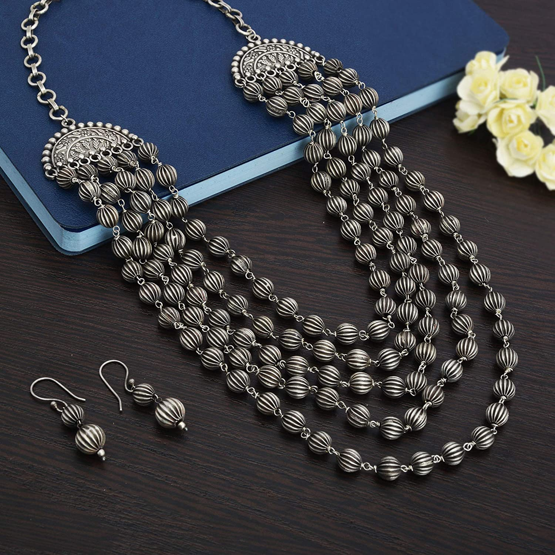 Zephyrr AmericanAfrican Multi Strand Long Blue Necklace Earing Set Boho Tribal Statement Junk Jewelry