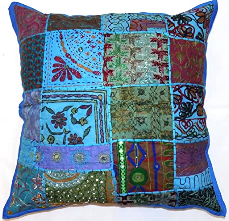 Large Zip Decorative Cushion Cover Turquoise Blue Teal 24x24 ...