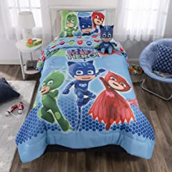 PJ Masks Soft Microfiber Comforter, Sheets and Plush Cuddle Pillow Kids Bedding Set Twin Size