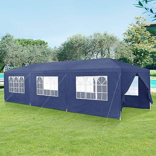 casa.pro] Carpa Pabellón para Jardín 900 x 300 x 255cm Quiosco Gazebo Cenador de jardín Estructura de Metal Plegable Azul Oscuro: Amazon.es: Hogar