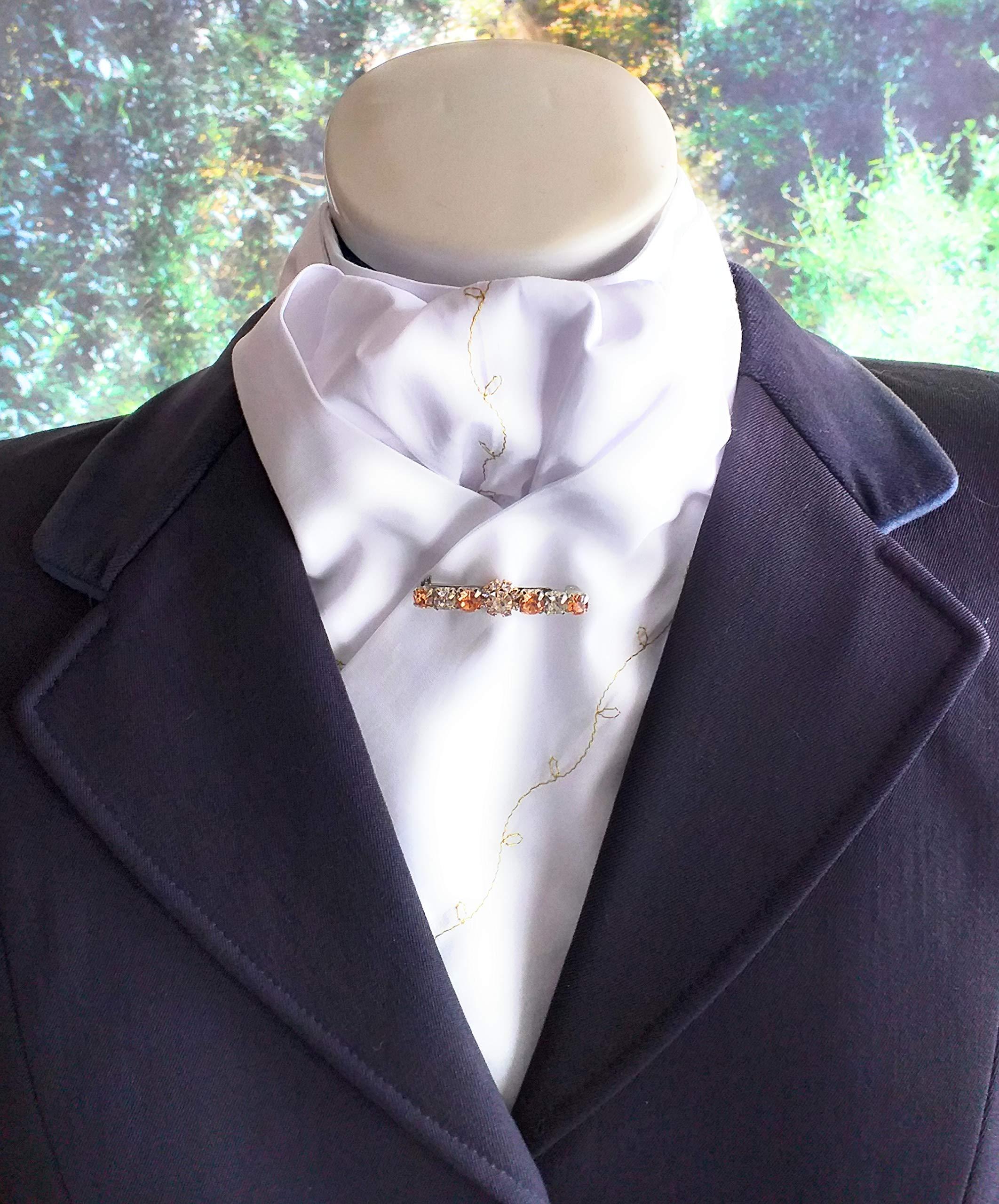 HHD White Satin Dressage Pre-tied Stock Tie Hot Pink /& Silver Rhinestone Pin
