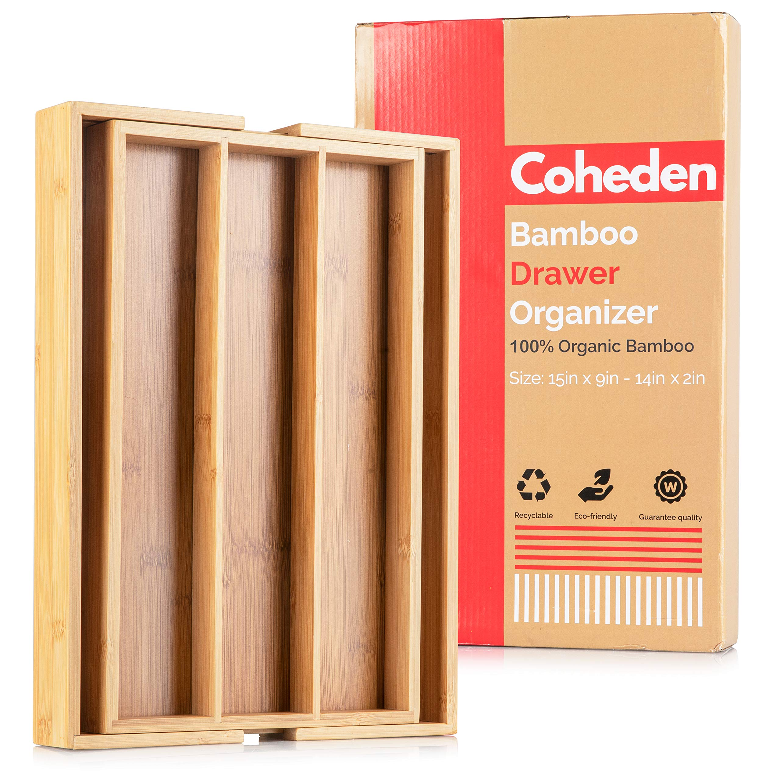 Bamboo Expandable Drawer Organizer by Coheden - Premium Cutlery and Utensil Tray - Multifunctional Organizer Fits With All Drawer Sizes - Perfect For Kitchen, Bedroom, Bathroom, Office, Desk, etc by Coheden
