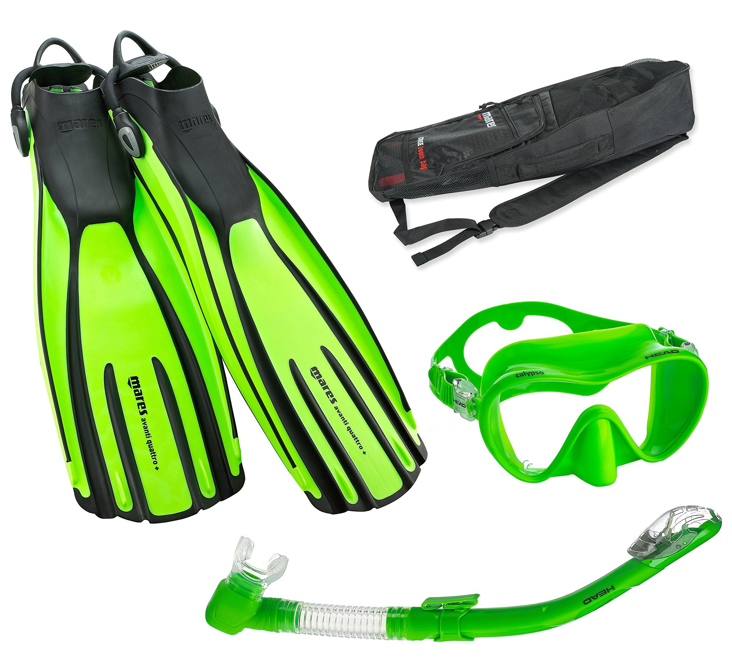 Mares Avanti Quattro Plus Fin Calypso Mask Dry Snorkel Set with Bag, Lime, Small
