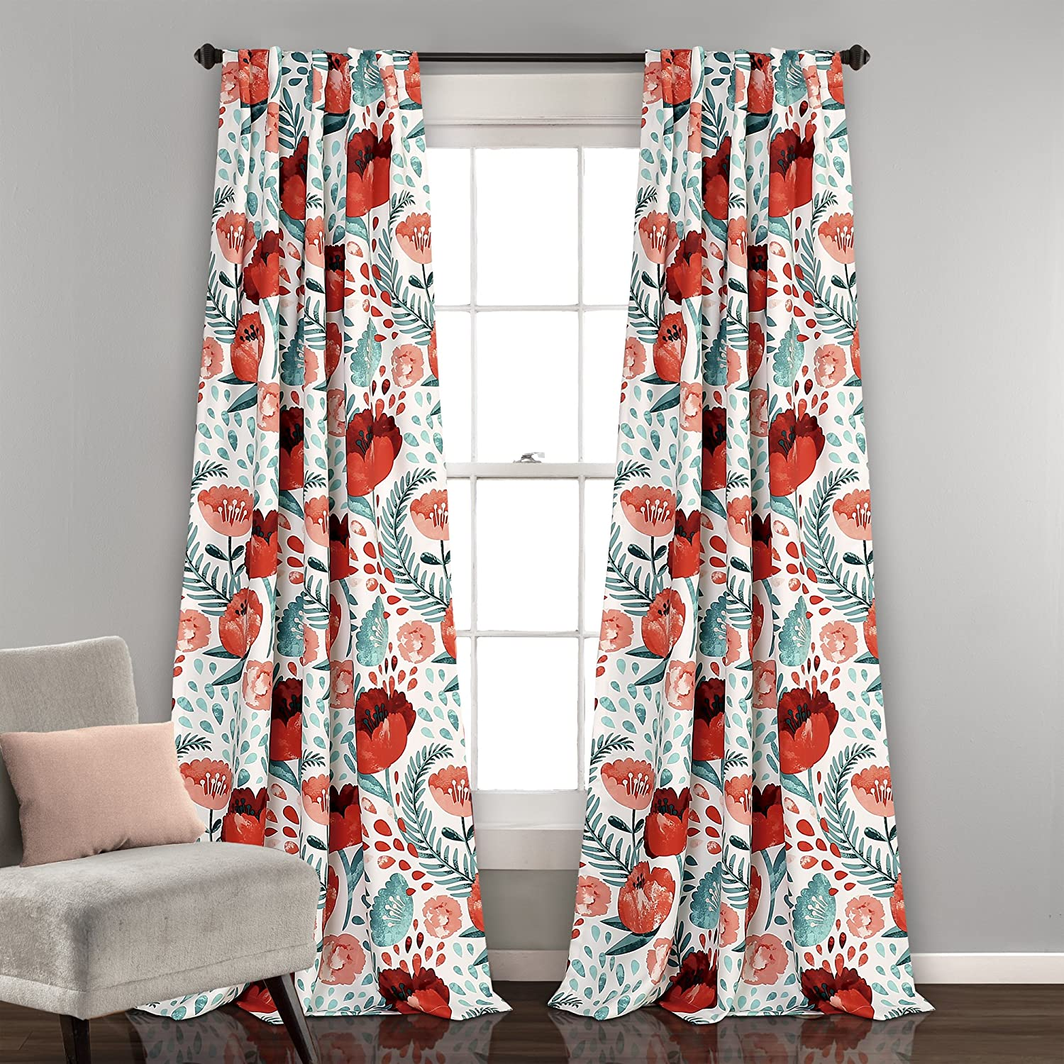 "Lush Decor Poppy Garden Curtains Room Darkening Window Panel Set for Living, Dining, Bedroom (Pair) 84"" x 52"" Multi"
