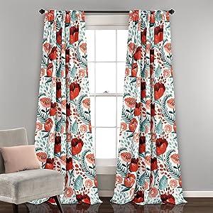 "Lush Decor Poppy Garden Curtains Room Darkening Window Panel Set for Living, Dining, Bedroom (Pair) 84"" x 52"" Multi"