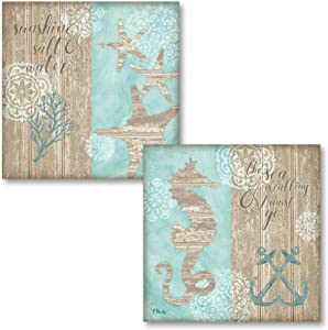 """Beach Boardwalk I Nautical Inspirational """"The Sea Is Calling and I Must Go"""" and """"Sunshine & Salt Water""""; Coastal Decor; Two 12x12 Poster Prints. (Printed on Paper, Not Wood)"""
