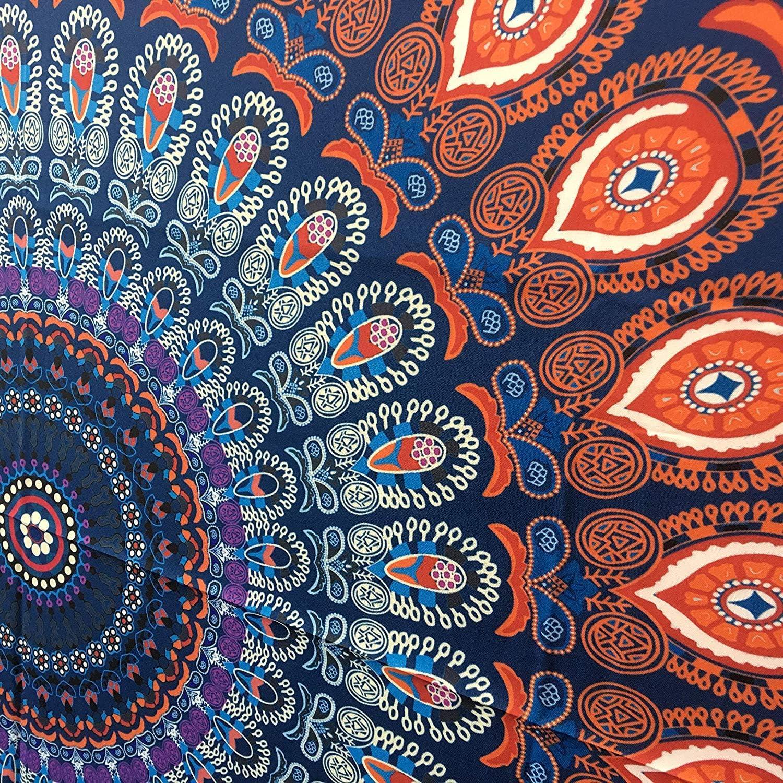 Peacock Mandala Tapestry 122 Zentimeter Round Table Cloth Hippie Wandbehang dekorative trippy Tapisserien Bohemian Boho Bettw/äsche indische handgemachte reine Baumwolle Bettdecke