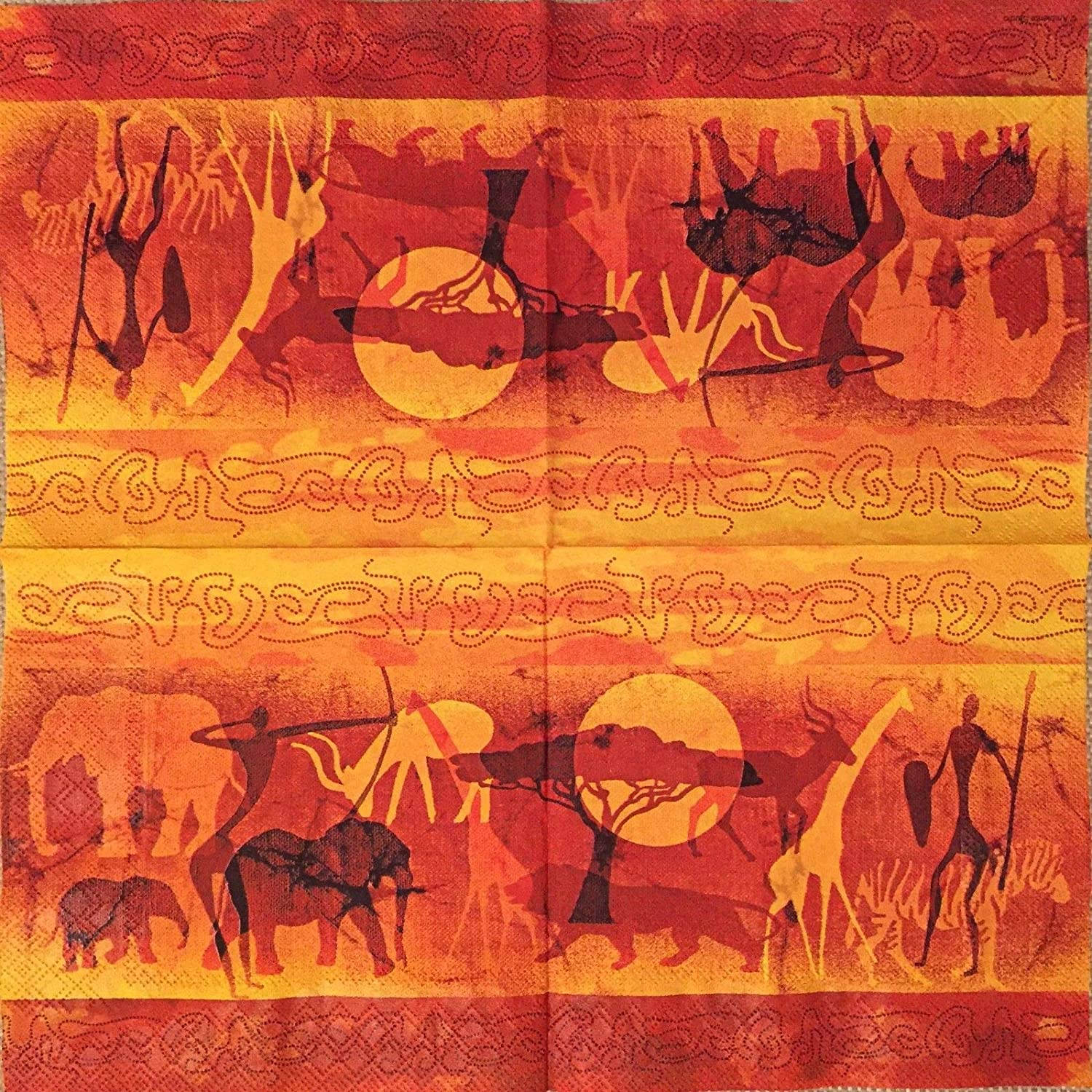 2 single Paper Napkins for DECOUPAGE Crafts Collection Party Animals Elephant Africa Patterns