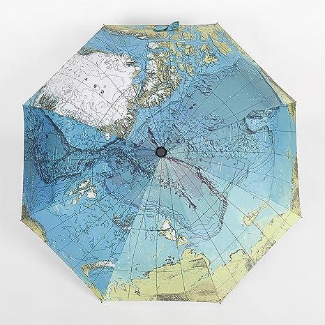 NT Mapa del mundo paraguas hombre automático 30% sombrillas y paraviento paraguas plegable