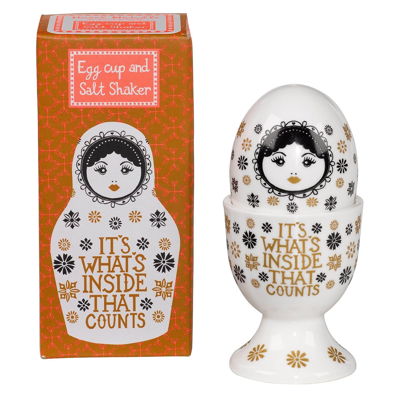 Hazel Nicholls Egg Cup and Salt Shaker Set 6 x 6 x 13 cm White Porcelain