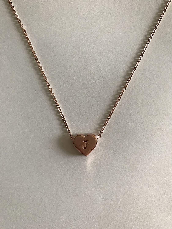 Rose Gold monogram necklace letter E