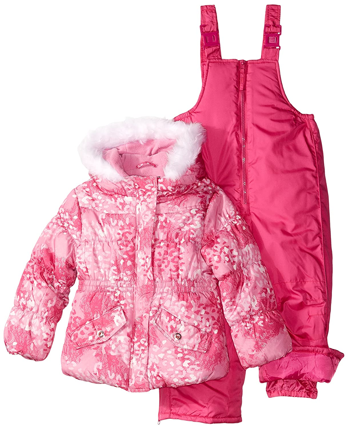 Rothschild Little Girls' Snowsuit with Printed Puffer Coat Toddler Pink Lace Leopard Small/2T Rothschild Girls 2-6x