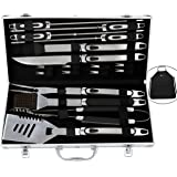 ROMANTICIST BBQ Tools Set - 20PCS BBQ Grill Tools Set w/Non Slip Handle - Heavy Duty Stainless Steel Barbecue Grilling Utensils in Aluminum Storage Case - Premium Grilling Accessories for Barbecue
