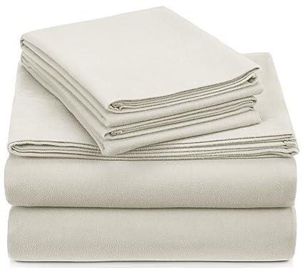 Pinzon Signature 190 Gram Cotton Heavyweight Velvet Flannel Sheet Set    Queen, Cream