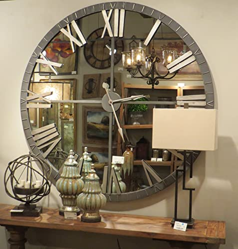 My Swanky Home XL 60″ Mirrored Round Wall Clock