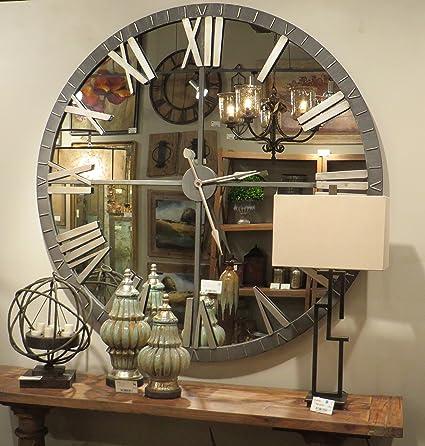xl 60 mirrored round wall clock oversize modern mirror glass - Mirrored Wall Clock