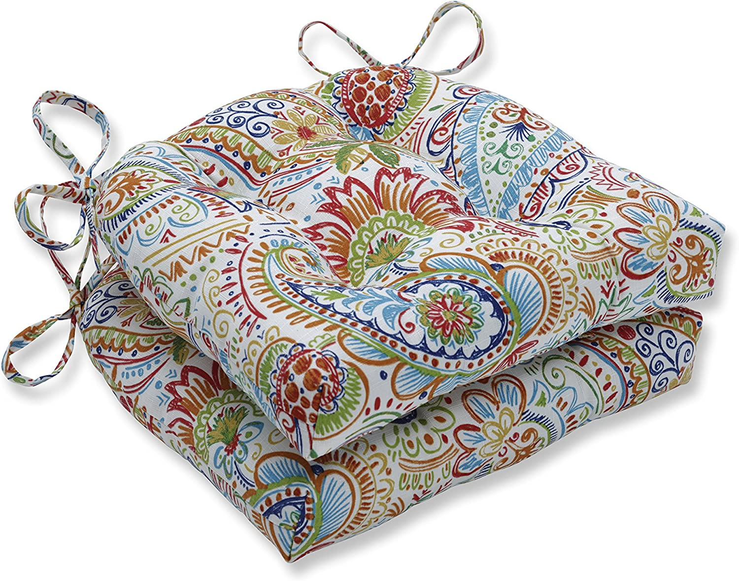 """Pillow Perfect Outdoor/Indoor Gilford Festival Floor Pillow, 15.5"""" x 14.5"""", Blue, 2 Count"""