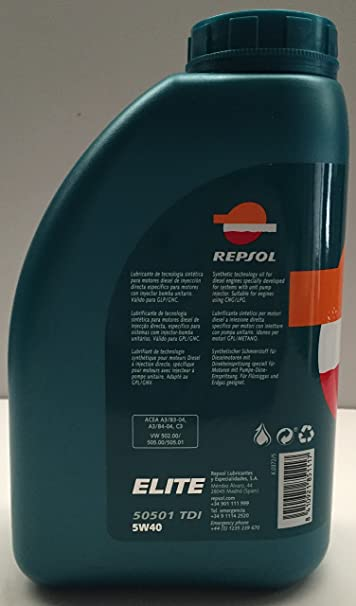 ACEITE MOTOR REPSOL ELITE TDI 50501 5W-40 5 litros (2 litros): Amazon.es: Coche y moto
