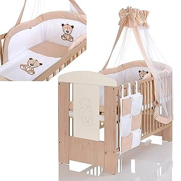 Baby Kinderbett 120x60 Cm Holz Bär Beige Weiss Matratze, Bettwäsche Set 9  Teilig