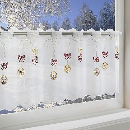 Amazon.De: Scheibengardine Weihnachtskugeln Für Küche Und
